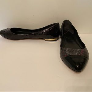 BRIAN ATWOOD SHOES FLATS BLACK REPTILE PATENT 9.5